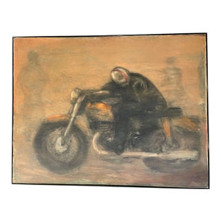 1970s Abstract Motorcyclist Painting by Chuck Arnett, Framed For Sale