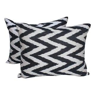 Black & White Silk Ikat Pillows - Pair For Sale