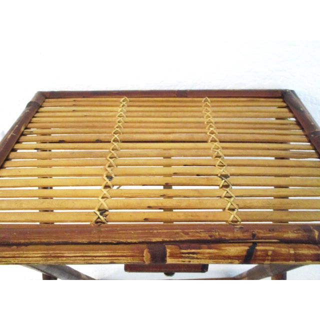 1970s Bamboo Folding Table For Sale - Image 4 of 10