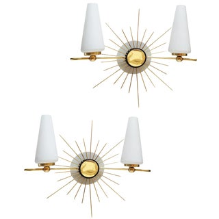 Vintage Maison Lunel Sun Sconces - A Pair For Sale