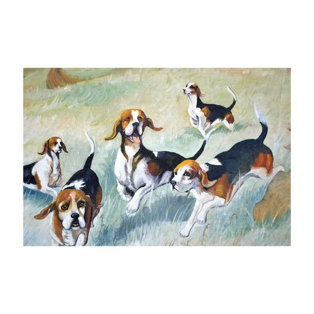 "Beautiful oil painting of beagles out in the field by Roman Tovar (American, 20th century). Signed ""Roman C. Tovar..."