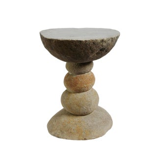 Stacked River Rock Stool / Table For Sale