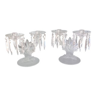 Scalloped Edge Crystal Candelabras - a Pair For Sale