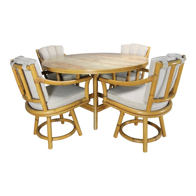 Mid-Century Ficks Reed Co. Round Rattan Game Table & Chairs - Image 1 of 11