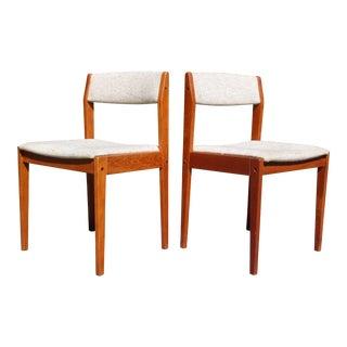 Vintage Pair Danish Modern Teak Dining Chairs Tarm Stole Denmark For Sale