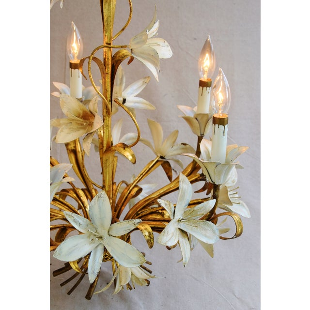 Vintage Five-Arm/Light Italian Gold Gilt Lily Tole Chandelier For Sale - Image 4 of 11