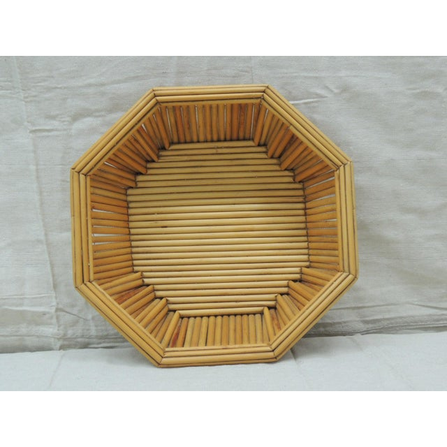 Hexagonal Vintage Bamboo Fruit Bowl or Serving Basket For Sale In Miami - Image 6 of 6