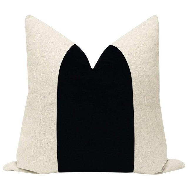 "Pair of 22"" neutral linen pillows with center velvet panel in ebony. Coordinating neutral linen reverse, knife edge..."