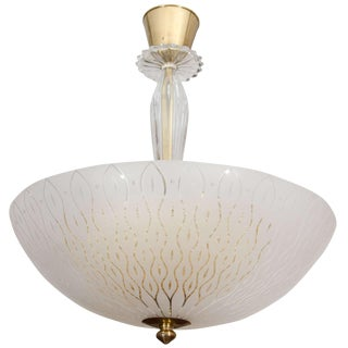 Orrefors Art Glass Light Fixture With Internal Golden Diffuser For Sale