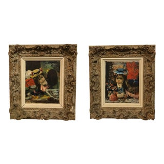 20th Century Surrealist Paintings by Jean Calogero - a Pair For Sale