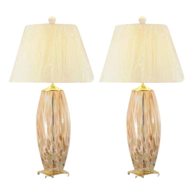 Stunning Pair of Blown Murano Lamps with Brass and Lucite Accents For Sale