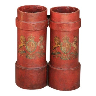 English 1940 Red Painted Double Umbrella Stand with Royal Motto and Coat of Arms