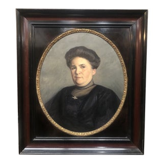 Early 1900s Portrait of a Woman Painting, Framed For Sale