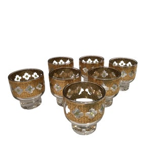 Mid-Century Culver Valencia Low Ball Footed Glasses - Set of 7 For Sale