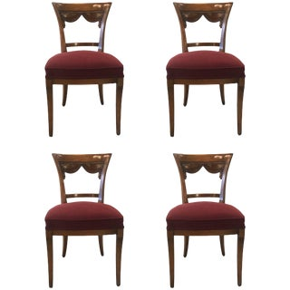 1950's Italian Carved Fruitwood Side Chairs - Set of 4