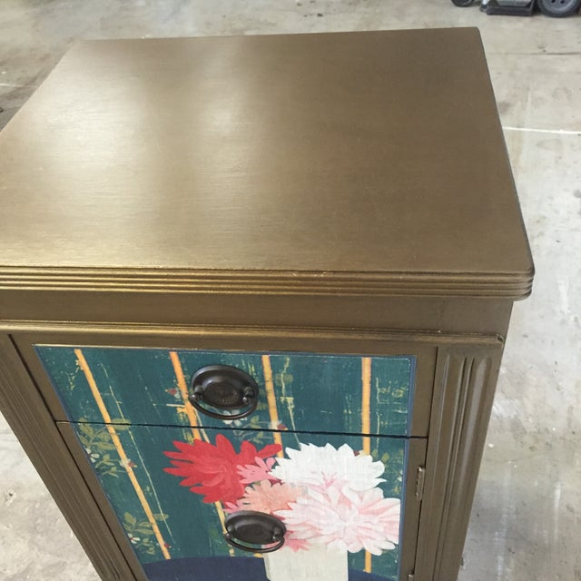 Metallic Gold Nightstand With Floral Linen Panel For Sale In San Francisco - Image 6 of 10