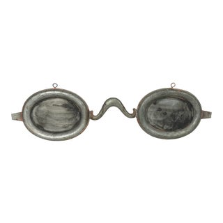 Late 20th Century Vintage Optometrist Tin Spectacles Trade Sign For Sale