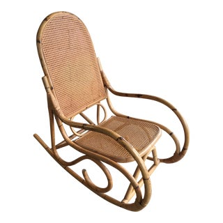 1970s Coastal Wicker and Bamboo Rocking Chair For Sale