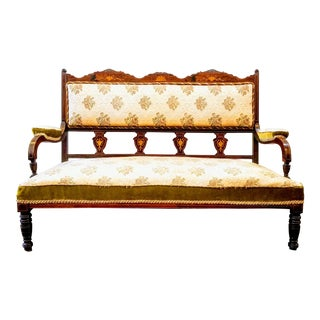 English Edwardian Adam Style Marquetry Salon Settee For Sale