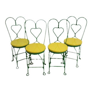 Metal Twisted Ice Cream Parlor Saloon Side Chairs - Set of 4