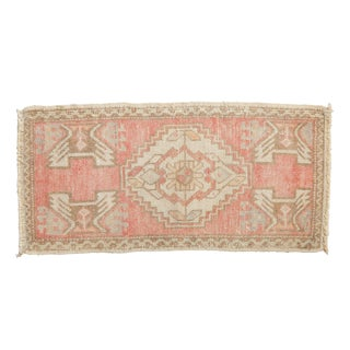 "Vintage Distressed Oushak Rug Mat Runner - 1'7"" X 3'3"" For Sale"
