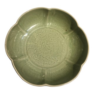 Large Chinese Celadon Glazed Mallow Bowl, 20th century For Sale