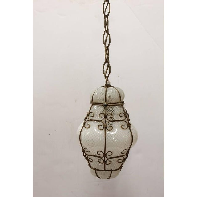 Vintage Seguso Murano White Glass Cage Pendant Light, 2 available. Listed price is for one light.