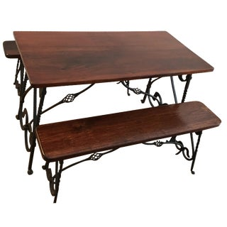 1900 Antique Wrought Iron Dining Table & Benches