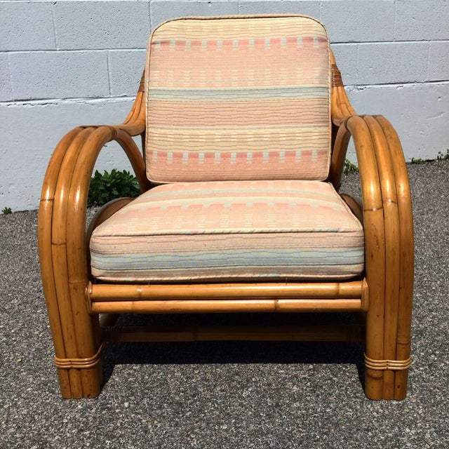 1960s 1960s Vintage Bamboo Rattan Lounger Chair & Ottoman Set- 3 Pieces For Sale - Image 5 of 7