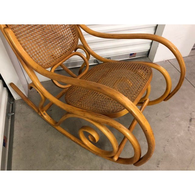 Contemporary 19th Century Thonet Bentwood & Cane Wood Rocker Rocking Chair For Sale - Image 3 of 13