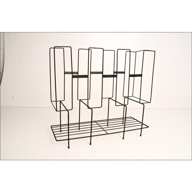 Mid-Century Modern Mid-Century Modern Black Wire Record Rack For Sale - Image 3 of 11
