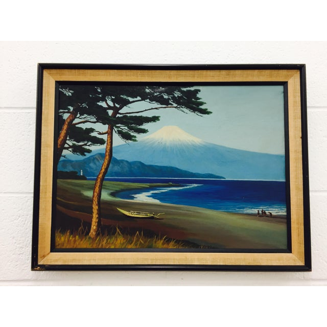 Stunning Vintage Framed Travel Scape of Island Scene in Wood & Burlap Frame. Beautiful coloring and composition. Plays...
