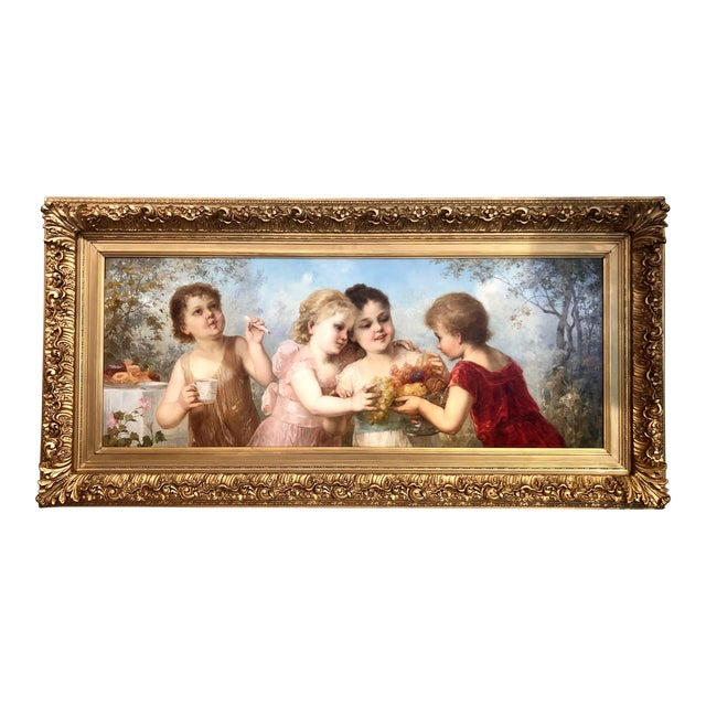 Exceptional Antique Late 19th Century Romantic School Viennese Oil on Canvas Portraiture Painting. For Sale