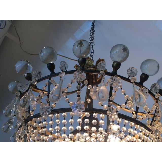 French Provincial French 3 Tier Crystal Chandelier For Sale - Image 3 of 13