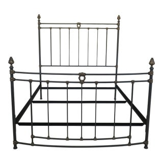 French Victorian Style Queen Size Metal Bed For Sale