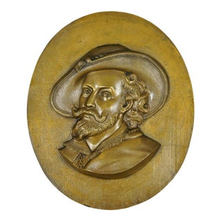 Antique Bronze Relief Musketeer Cavalier Wall Plaque For Sale