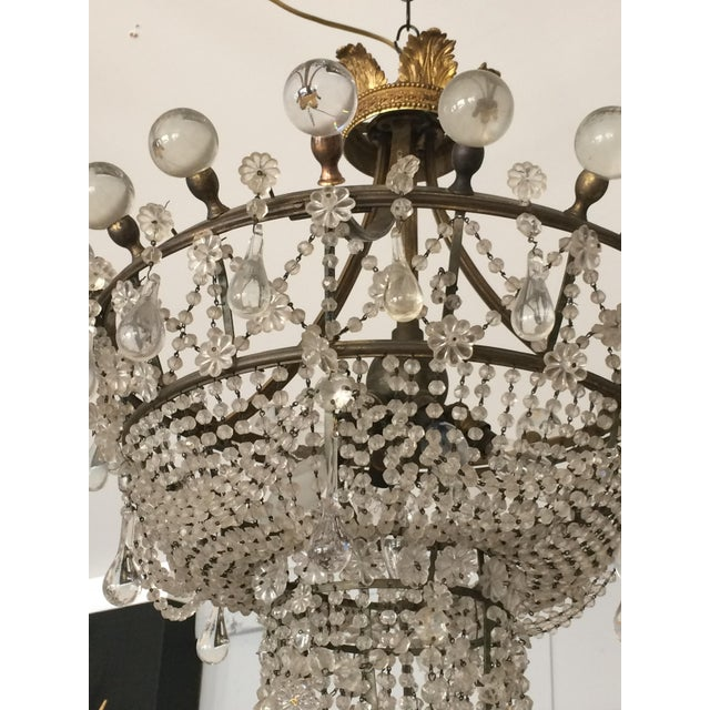 French 3 Tier Crystal Chandelier For Sale - Image 12 of 13