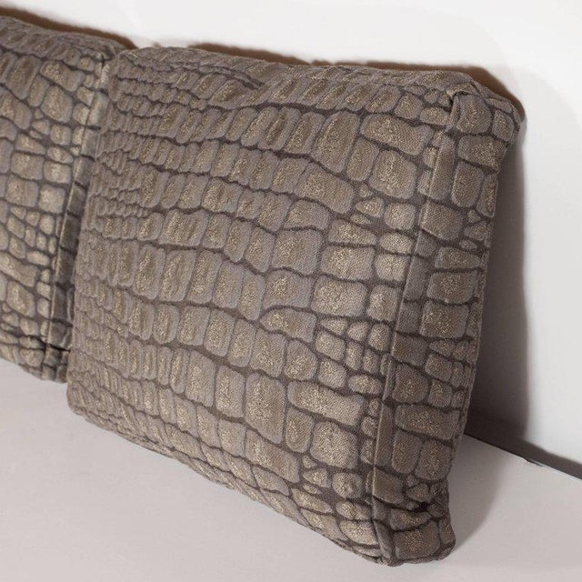 Silk Pair of Gauffraged Crocodile Fabric Pillows in Metallic Antique Bronze Hue For Sale - Image 7 of 8