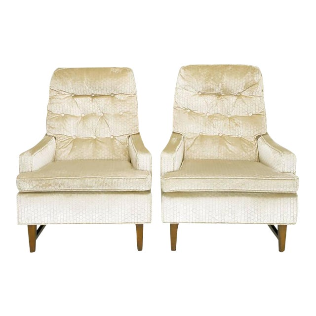 Pair of 1960s High Back Ivory Cut Velvet Lounge Chairs after Harvey Probber - Image 1 of 9
