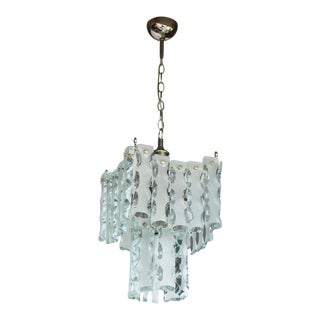 Italian Midcentury Murano Etched Glass Pendant Chandelier For Sale