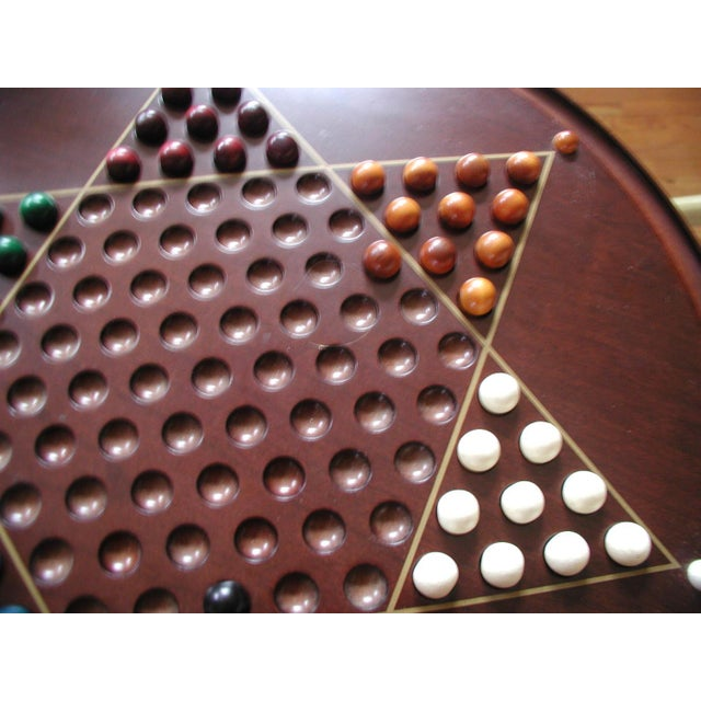 Asian Vintage Wooden Chinese Checkers Board Game For Sale - Image 3 of 6