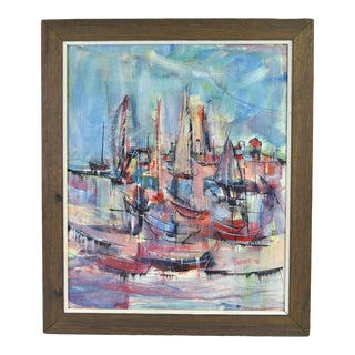 1978 Mid-Century Modern Painting Abstract Sailboats Provincetown Bodner For Sale
