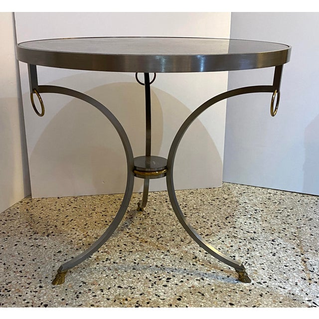 French Mid-Century Maison Jansen Attributed Louis XVI Style Gueridon Side Table in Steel, Brass and Verdigreen Marble For Sale - Image 3 of 13