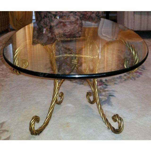 Vintage Italian Gold Rope and Tassel Coffee Table For Sale - Image 4 of 6