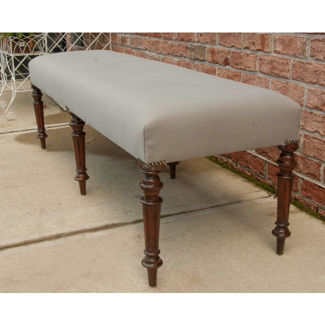 English Mahogany Antique Bench with 6 Legs, New Grey Upholstery c1900.