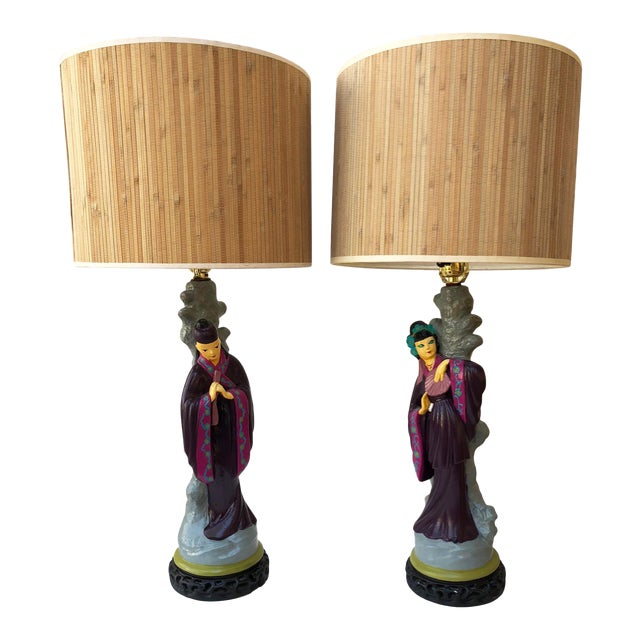 Pair of Asian Figural Table Lamps For Sale