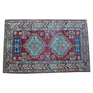 "Vintage Afghan Rug - 4' X 6'1"" For Sale"
