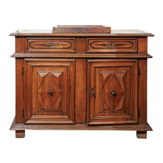 Italian 19th Century Walnut Vanity Buffet with Doors and Raised Diamond Motifs For Sale