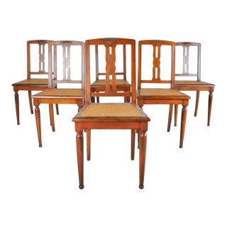 Antique Set of 6 French Provincial Maple Dining Chairs W/ Cane Seats For Sale