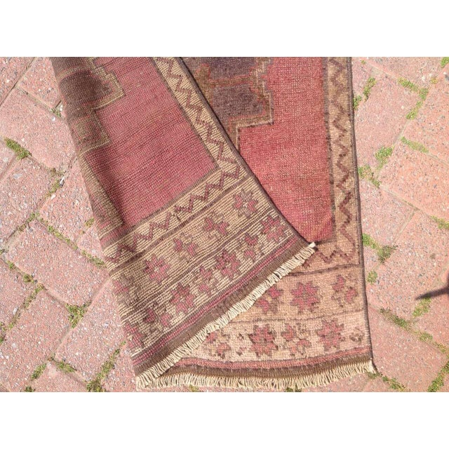 Red Vintage Hand Knotted Anatolian Runner For Sale - Image 8 of 8